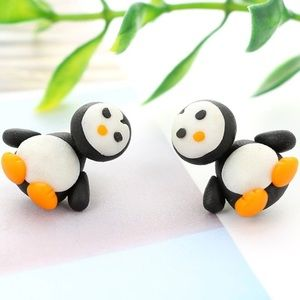 Jewelry - 3D Polymer Clay Penguin Earrings (Orange)
